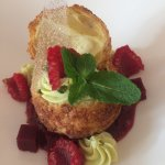 Un dessert très réussi à base de framboise et de pistache