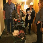 Millie and Bebe travel in style with the Fam on the 6th floor...