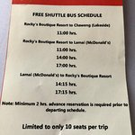 Hotel Bus Timetable