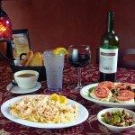 Shrimp scampi, Caprese, classic three bean salad and a glass of Luis...