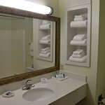 Spacious and well lit vanity area in each of our rooms.