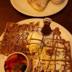 S'mores crepe and choclate chunk waffle