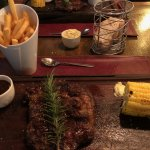 Ribe Eye Steak with Chips and Corn