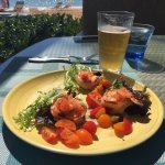 Grilled Prawns with a Yogurt Sauce and Cherry Tomatoes
