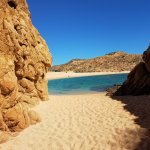 View of Playa Santa Maria Beach in Cabo San Lucas from cove
