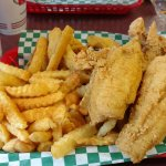 Combo with flounder, shrimp, and chicken strips