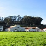 The buildings on the right were hangars when Crissy field served as an airfield..