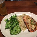 The Roasted Garlic-Herb Salmon (cooked medium) with a seasonal IPA