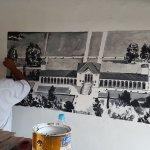 imagem aérea em mural da Villa Emo Fanzolo- Italia pintada Confeitaria La Torinese, praia Canoa