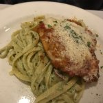 Chicken Parmigiana served with Pesto Fettuccine