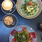 Avo Smash, Smoked Salmon Rosti Stack, Flat white and Iced Latte!