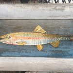 "Original Razor Blade Art, ""Razor Trout #1"" on reclaimed wood"