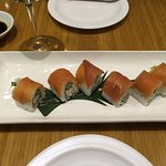 Great Canadian sushi roll with East coast lobster and West coast salmon