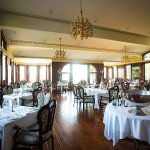 Stunning main dining room, the 'Morris Room' at Edgewater Manor overlooking the lake.