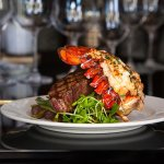 Classic surf and turf dish of steak and lobster at Edgewater Manor.