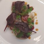 Smoked loin of venison, crapaudine beetroot & burnt pear purée