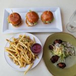 sliders, garlic fries and bacon-wrapped dates, yum!