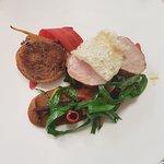 Loin of Cumbrian pork, roasted carrot purée & crispy pig's head