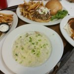 Fish & Chips, Smoked Meatloaf, Pulled Pork Sandwich and Chicken Fettuccine Alfredo