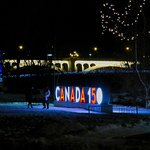 Nicely lit at night - even the Canada 150 sign