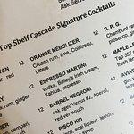 The cocktail menu - I had the Orange Nebulizer.