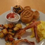Breakfast at Cape May Cafe complete with Mickey Waffle.