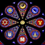 Stained glass with interesting symbolic elements