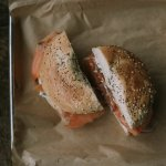 smoked salmon with fried caper cream cheese