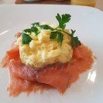 Scrambled eggs and salmon