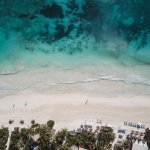 Mahayana is right on Tulum beach. View of beach from above.
