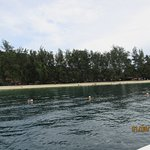 This is the main beach as seen from the boat that brings you from Kota Kinabalu