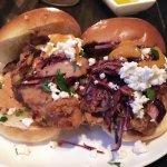 Fried Chicken Sliders (cabbage slaw, spicy apricot dressing, harissa tarragon aioli, feta, brioc