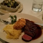 Filet cooked to perfection, whipped potatoes and Brussels sprouts