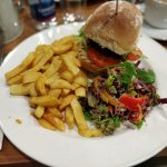 Excellent burger, chips and small salad. €11.50.