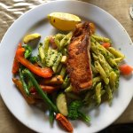 grilled salmon on penne pasta with roast vegetables... whoa!