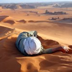 Moussa Macher on top of Tin Merzouga, Tadart, Algerian Sahara