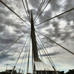 Dramatic photo of the pedestrian bridge in The Forks National Historic Site