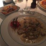 Tasty veal with mushroom, mustard & cream sauce