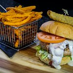 9Teen Burger and Sweet Potato Fries