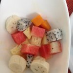 Beautiful fresh fruit salad for breakfast