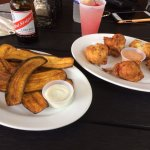 Plantain chips, fish fritters