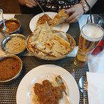 Main courses; chicken bhuna and lamb bhuna with rice and nan bread