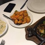 egg fried rice, sweet and sour chicken, beef in black bean sauce