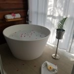 This romantic bath was waiting for us (with wine) after our excursion thanks to our butlers!