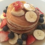 Breakfast special - pancakes with maple syrup and fruit! Delicious, a must have.