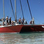 Beach Landings the 60 foot catamaran El Tigre II. Easy stairs for disembarking.