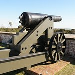 Cannon mounted on Fort Macon's ramparts guarded Beaufort Inlet from enemy approach.