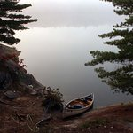 View from our campsite on Carlyle Lake-our canoe's steep mooring