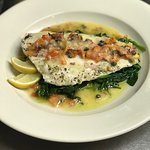 Yellow Tail Flounder Special Over Spinach w/ Tomatoes, Capers In a Lemon Butter