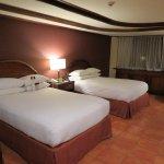 Great beds! New, foam mattresses. Slippery tile floors.